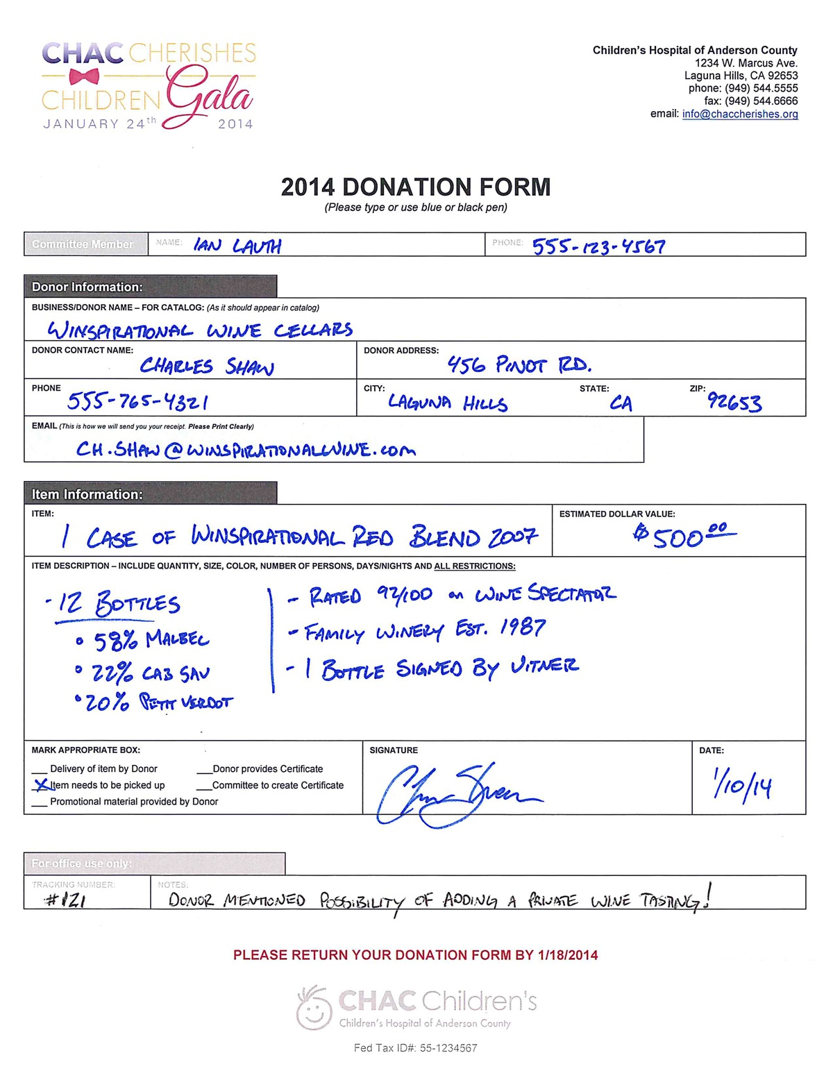 Silent Auction Forms The Essential List – Sample Donation Sheet