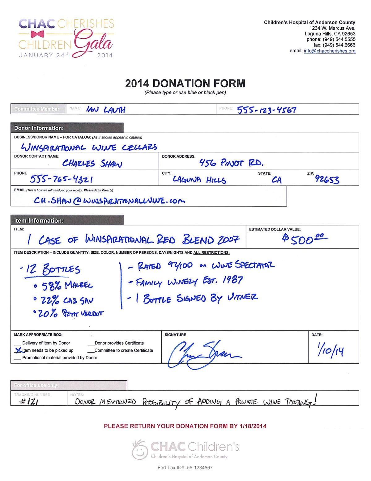 donation checklist template